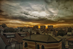 Evening in Belgrade. View of Belgrade rooftops during sunset Stock Image