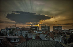 Evening in Belgrade. View of Belgrade rooftops during sunset Stock Photography