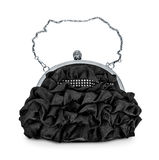 Evening black handbag with silver chain Royalty Free Stock Photo