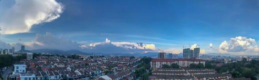 Evening Blue cloudy sky Urban Day time highrise building skyline construction stock photos