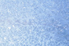 Evening Blue Frost Pattern. Texture on the glass Royalty Free Stock Photos