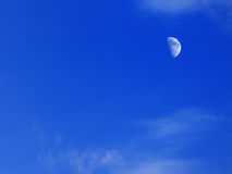 Evening blue sky with moon Stock Images