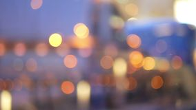 Evening lights road train. Evening blurred lights and transportation stock footage