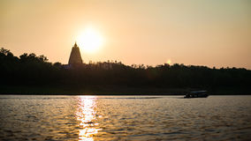 Evening Bodhgaya-style stupa and river Royalty Free Stock Photos