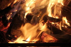 Evening bonfire. With yellow and orange flame stock image
