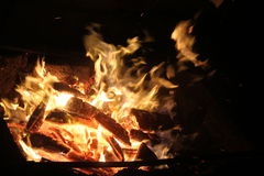 Evening bonfire. With yellow and orange flame Royalty Free Stock Images
