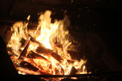 Evening bonfire. With yellow and orange flame Stock Photo