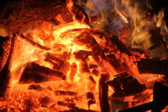 Evening bonfire. With yellow and orange flame Royalty Free Stock Image
