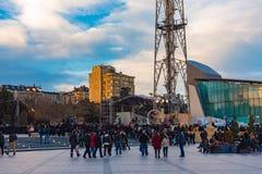 Evening boulevard in Baku city Royalty Free Stock Images