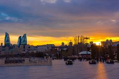 Evening boulevard in Baku city Stock Photos