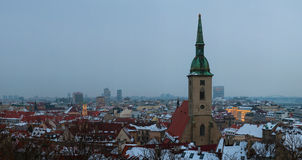 Evening bratislava in winter Royalty Free Stock Photo