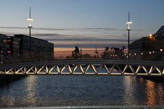 Evening bridge view in Malmo. Evening illumination in Malmo, Sweden Royalty Free Stock Image