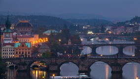 Evening Bridges in Prague. Time Lapse 4K stock video