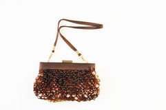 Evening brown with sequins handbag isolated on white Stock Photography