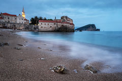Evening in Budva old town. Royalty Free Stock Photo