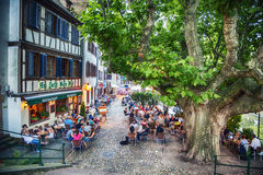 Evening cafe square  in Strasbourg , region Petite-France, July Stock Photos