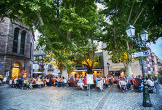 Evening cafe square  in Strasbourg , region Petite-France, July Stock Photography