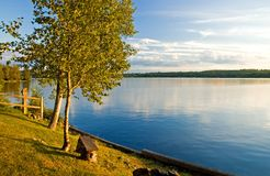 Evening Calm on the Lake. Calm comes to the lake as evening descends across the water.  Moosehead Lake, Maine Stock Photos