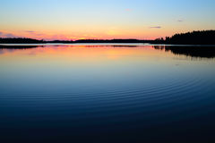 Evening calmness. Lake Engozero, North Karelia, Russia Royalty Free Stock Photo