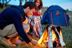 Evening in camp Royalty Free Stock Images