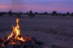 Boondocking bonfire near Quartzsite, Arizona royalty free stock images