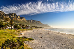 Evening at Camps Bay Beach - Cape Town, South Africa Royalty Free Stock Image