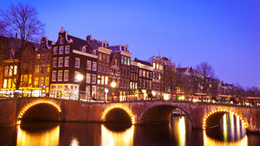 Evening at a canal in Amsterdam, the Netherlands royalty free stock image