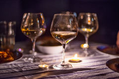Evening candle light dinner with wine Royalty Free Stock Photo