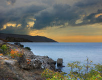Evening on Cape Meganom, Black Sea, Crimea Stock Photography