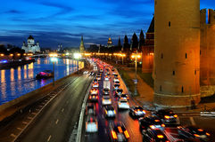 Evening car traffic along the Moscow Kremlin. Royalty Free Stock Photography