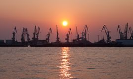 Evening cargo port Royalty Free Stock Photos