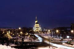 Evening Cathedral. Tonight`s Cathedral on a winter evening Royalty Free Stock Images