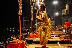 A celebration in Varanasi, India. A evening celebration begins in Varanasi, India royalty free stock image