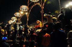 A celebration in Varanasi, India. A evening celebration begins in Varanasi, India stock photos