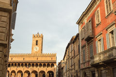 Evening in the center of a medieval village in Italy Stock Photography