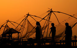 Evening in Chinese Fishing Nets Stock Photo