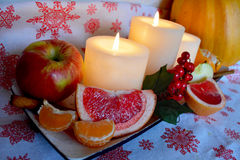 Evening christmas candle at kitchen Royalty Free Stock Photo