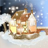 Evening Christmas scene with house in snow Stock Photography
