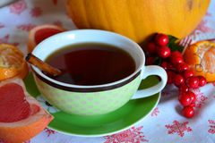 Evening christmas tea with cinnamon Royalty Free Stock Images