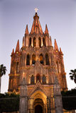 Evening Church Lights Church San Miguel Mexico Royalty Free Stock Images