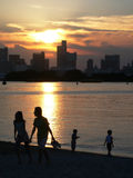 Evening in the city. Evening cityscape with people on the beach, Tokyo Japan Royalty Free Stock Image
