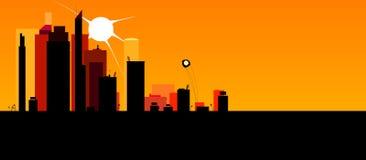 Evening city. Panorama of the evening city Stock Photo
