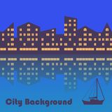 Evening city background. Abstract vector stock illustration