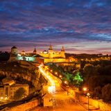 Evening City. Historic District Kamyanets-Podolsky City Stock Photo