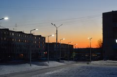 Evening in the city of Kandalaksha.April 2019. Image of the street  in city of Kandalaksha stock image