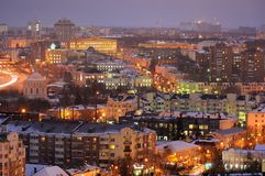 Evening city lights panoramic view, Orel, Russia Stock Photography