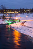 Evening city park in winter Stock Photography