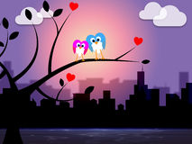 Evening City Shows Night Time And Nature. Night City Meaning Downtown Bird And Metropolis Royalty Free Stock Image