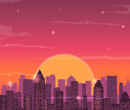 Evening city skyline. Buildings silhouette cityscape. Red sky with sun and clouds. Vector Stock Photo
