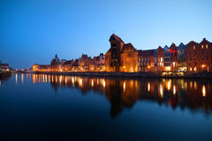 Evening City Skyline of Gdansk Stock Image